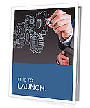 Businessman hand draws gear to success concept Presentation Folder