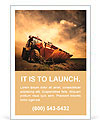 Yellow tractor on golden sunrise sky Ad Template