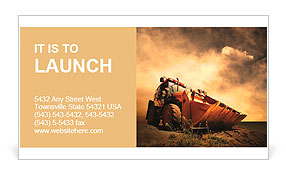 Yellow tractor on golden sunrise sky Business Card Templates