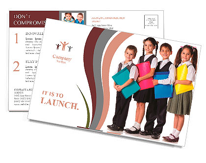 Four smiling schoolchild standing with colorful folders, isolated on white Postcard Template