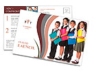 Four smiling schoolchild standing with colorful folders, isolated on white Postcard Templates