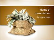 Money in the bag isolated on a white background PowerPoint Templates