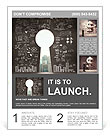 Opened concrete wall in form of a keyhole with drawing business concept Flyer Templates