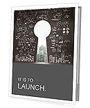 Opened concrete wall in form of a keyhole with drawing business concept Presentation Folder