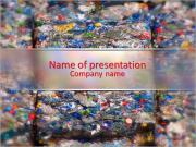 Compacted recyclable plastic waste at a recycling plant. PowerPoint Templates
