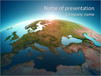 Planet earth with sun rising over European countries (Elements of this image furnished by NASA- eart PowerPoint Template