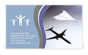 Paper airplane casting a shadow of a jetliner - vision and aspirations concept illustration Business Card Template