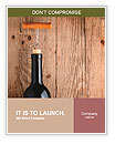 Bottle of wine with corkscrew on wooden background Word Templates