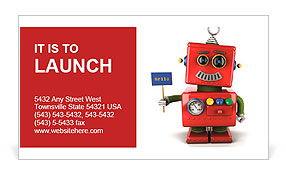 Little happy vintage toy robot holding a hello sign over white background Business Card Templates