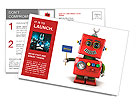 Little happy vintage toy robot holding a hello sign over white background Postcard Templates