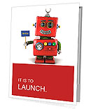 Little happy vintage toy robot holding a hello sign over white background Presentation Folder