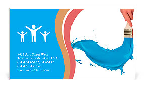 Blue Paint Splashing Out Of Brush Isolated On White Background - Painter business card template