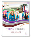 Fitness - Young women doing sports training or workout with gymnastic ball in a gym Poster Templates