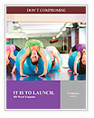 Fitness - Young women doing sports training or workout with gymnastic ball in a gym Word Templates