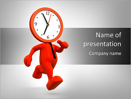 3d people man person running out of time a clock powerpoint