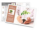 Holding a plant isolated on a white background Postcard Template