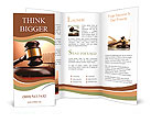Wooden gavel and books on wooden table, on brown background Brochure Templates