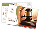 Wooden gavel and books on wooden table, on brown background Postcard Template