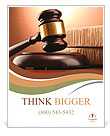 Wooden gavel and books on wooden table, on brown background Poster Template
