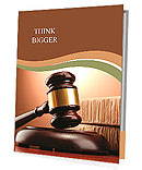 Wooden gavel and books on wooden table, on brown background Presentation Folder