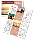 Man running on the beach at sunset Newsletter Template
