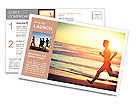 Man running on the beach at sunset Postcard Template