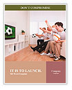 Jubilant family watching television as they cheer on their home side in a sporting competition Word Templates