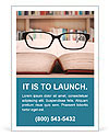 Closeup of reading glasses on the book. shot in the library Ad Templates