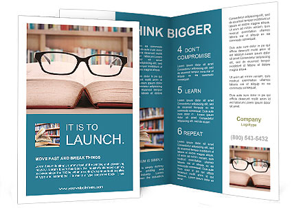 Closeup of reading glasses on the book. shot in the library Brochure Template
