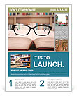 Closeup of reading glasses on the book. shot in the library Flyer Templates