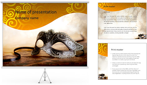 female carnival mask with glittering background powerpoint