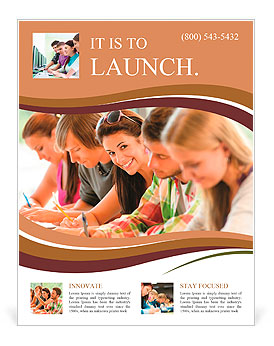 Students writing at high-school exam teens study campus academic class Flyer Template