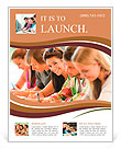 Students writing at high-school exam teens study campus academic class Flyer Templates