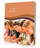 Students writing at high-school exam teens study campus academic class Presentation Folder