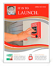 The hand of man is pulling fire alarm on the wall next to the door Flyer Templates
