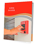 The hand of man is pulling fire alarm on the wall next to the door Presentation Folder