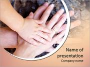 Family concept.Three hands of the family on the tree bark - baby, mother and father. Selective focus PowerPoint Templates