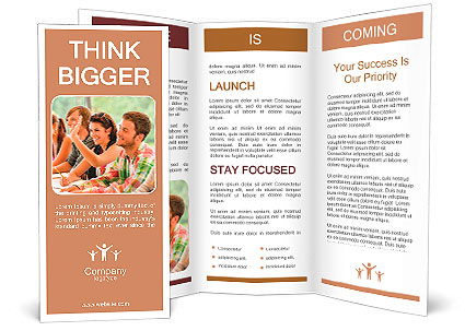 Highschool Student Raising Her Hand In Class Lesson Teenagers - High school brochure template