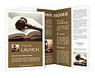 Wooden gavel and book on wooden table, on grey background Brochure Templates