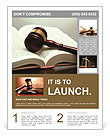 Wooden gavel and book on wooden table, on grey background Flyer Templates