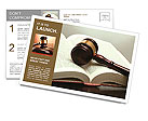 Wooden gavel and book on wooden table, on grey background Postcard Template