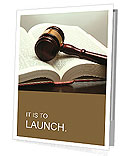 Wooden gavel and book on wooden table, on grey background Presentation Folder