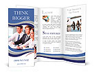 Three business people sitting at seminar, the focus is on woman Brochure Templates