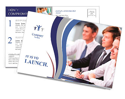 Three business people sitting at seminar, the focus is on woman Postcard Template