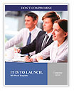 Three business people sitting at seminar, the focus is on woman Word Template