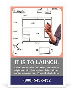 website development project on whiteboard ad template design id