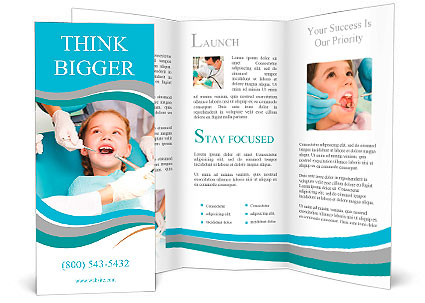 Little Girl Sitting In The Dentists Office Brochure Template - Dental brochure template