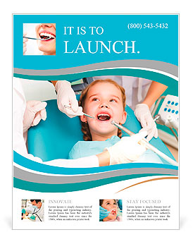 Little girl sitting in the dentists office Flyer Template & Design ...