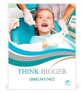 Little girl sitting in the dentists office Poster Template