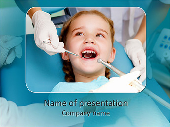 Little girl sitting in the dentists office PowerPoint Template